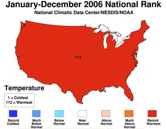 NOAA reports 2006 was the warmest year on record for the contiguous United States 550