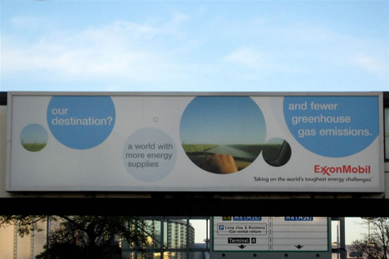 ExxonMobil advertisement on billboard at LHR 21 November 2007