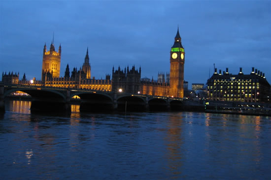 Postcard from the Houses of Parliament aka Palace of Westminster London at night 6 March 2008